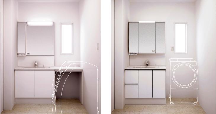 洗面室や機能に合わせた洗面台のサイズ